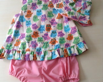 Baby girl swing dress size 0  with hooty owls perfect for summer and picnics handmade and unique