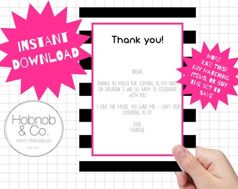 Printable chic striped thank you cards INSTANT DOWNLOAD