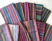 Peruvian Fabric, Andean Fabric, Woven Tribal Fabric Bundle, 12 Large Pieces