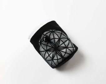 White On Black Sacred Geometry Chalk Bag - Rock Climbing