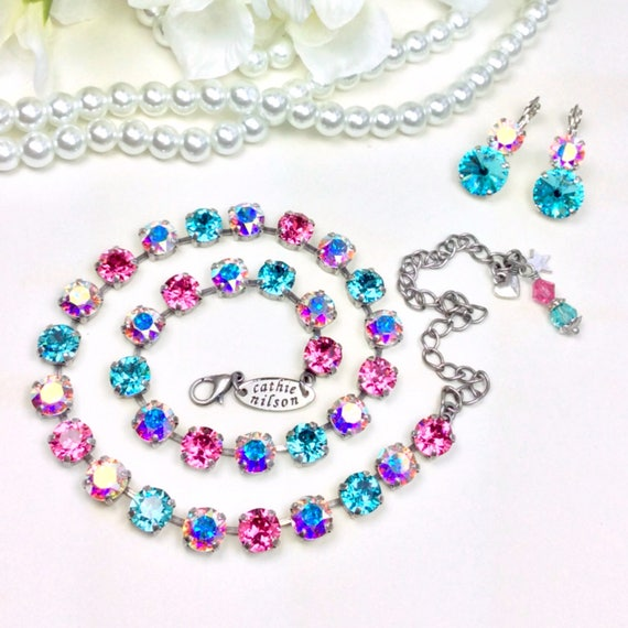 "Swarovski Crystal 8.5mm Necklace -"" Candy Crush "" Stunning, Beautiful Feminine Colors - Designer Inspired - FREE SHIPPING"