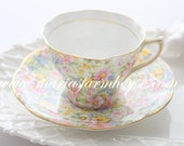 Vintage, English Bone China Tea Cup and Saucer by Rosina, Chintz Pattern, Gifts for Her, Replacement China - ca. 1948 - 1952
