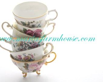 Vintage, Mismatched Medley Tea Cups, Set of 6, Tea Party, Instant Collection, Little Princess Tea Party, Bachelorette Favors