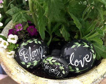 Mini Terrarium Rocks 3, Garden Rocks, Hand Painted Pebble Stones