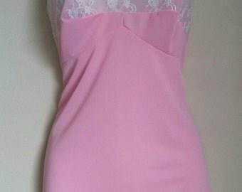 Vtg pink nylon babydoll  sz 34 reduced