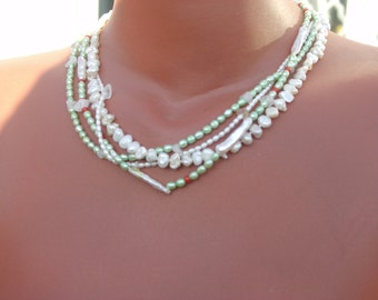 Pearl Necklace pearls keshi Freshwater Pearl short four-row white green with silver clasp
