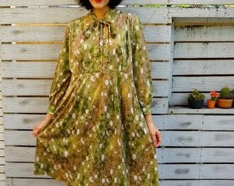 Vintage Dress, 1980s Dress, Vintage Japanese Dress, Womens Dress, Summer Dress, 80s Dress, Geometric Print, Retro clothing