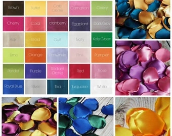Satin rose petals, custom colors - for wedding basket or aisle, anniversary, or romantic date night, artificial flower petals, made to order