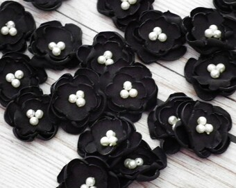 "BLACK satin flowers, set of 2 sew on or glue on embellishments, DIY weddings, 1"" satin flowers with faux pearl centers, ready to ship"