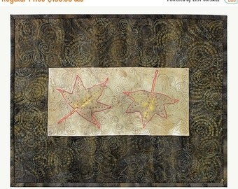 Close out Sale Mini Quilt, Eco Dyed Printed Leaf Quilted Wall Hanging, Fiber Art Quilt, Dyed Fabric