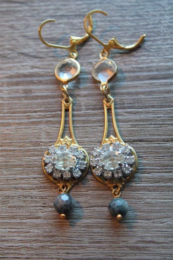 Dangle Earrings Crystal light vintage assemblage Repurposed bazel stone rhinestones cabochons filigree bronze, mixed media art, OOAK