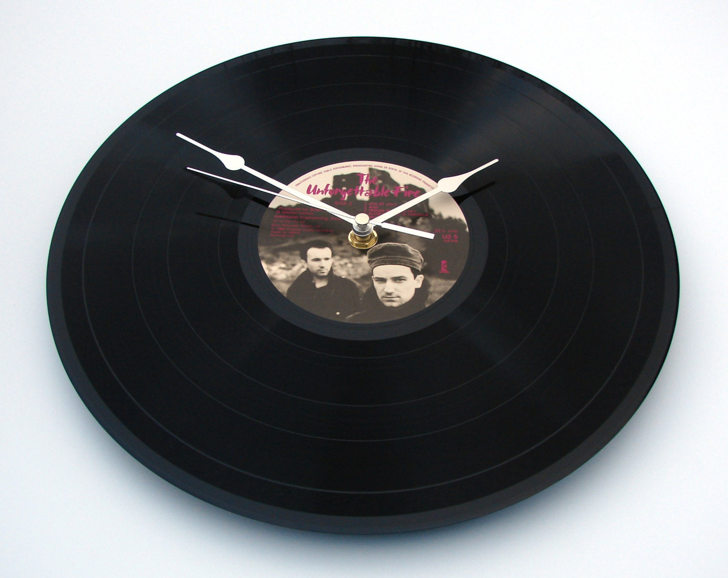 U2 Record Clock Made From Recycled 12 Vinyl Record Lp