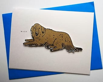 dog card - golden retriever