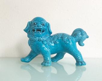 Vintage Turquoise Ceramic Foo Dog