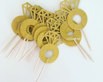 5 Gold engagement ring cupcake toppers sets/ cupcake toppers
