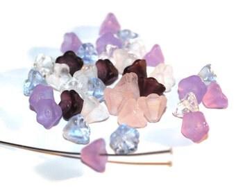35 - 6x8mm Purple Pink Czech glass flowers (004)