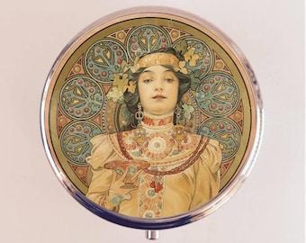 Alphonse Mucha Pill Box Case Pillbox Holder Trinket Stash Box Headdress Art Nouveau Boho Gypsy