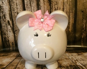 EXTRA LARGE Personalized glittery coral polka dots,piggy bank, girl bank, birthday banks, custom piggy banks, baby's first piggy bank