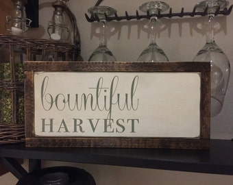 BOUNTIFUL HARVEST distressed wood sign | 13x15x1.5