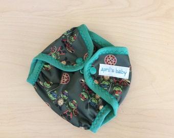 Newborn waterproof PUL cloth diaper cover - half shell heros