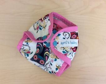 Newborn waterproof cloth diaper cover - fits 6-12 lbs, night owl