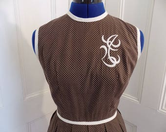 1950s 50s Brown with White Polka Dots Embroidered Swing Dress Full Skirt