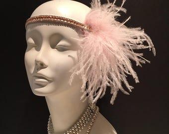 Flapper Headpiece- Deco Style- Pink Head Wrap- Gatsby Style- Pink Flapper Head wrap- 1920s Hair- Gatsby Headpiece- Gatsby Wedding- Art Deco
