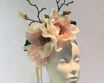 Pink Fascinators- Ivory Fascinator- Ivory Hat- Tea Party Hat- Day at the Races- Magnolia- Fancy Hat- Derby Day