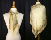 Vintage Large Silk Scarf - Pale Yellow Floral Scarf by Da Maren - Square Scarf - Georgette Chiffon Fabric