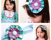M2M Matilda Jane *Once Upon A Time* Stained Glass Dress Gently Tunic Ruffle Flower Clip or Headband