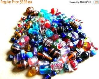 Christmas Sale 1/2 Pound Glass Bead Lot - Bohemian Beads - Assorted Glass Beads - Mixed Glass Beads - Half Pound Glass Beads