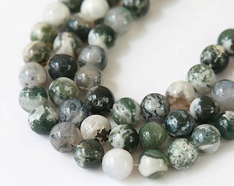 Green and White Tree Agate Beads, 10mm Round - 15 inch Strand - EGR-TA002-10