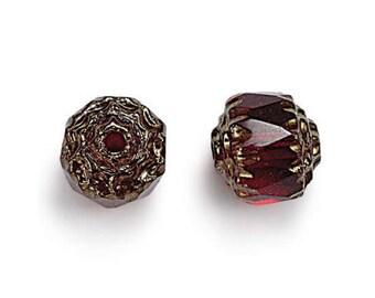 Ruby Red Picasso Czech Glass Beads, 6mm Renaissance - 25 pcs - e9010-15-6f