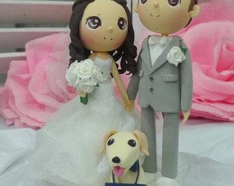 Wedding Cake topper I do too clay doll, Bride groom and Golden retriever dog clay miniature, white wedding theme clay figurine decoration
