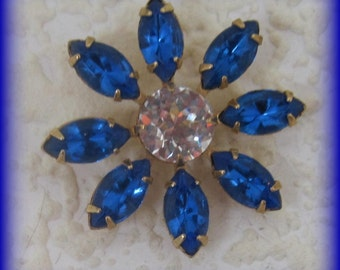 Dark Sapphire 36MM Multi 9 Stone Rhinestone Navette Chaton Brass Flower Pendant