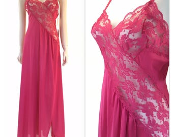 Vintage nightgown | wine red nylon and lace maxi with front slit | medium
