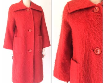 Mod Red Mohair Coat | vintage 60s | size sm