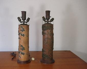 Pair of Vintage Wallpaper Roller Lamps Vintage Lighting