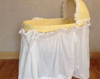 Baby BASSINET Folding Wicker Canopy With Mattress Cover and Bed Skirt