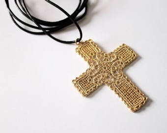 Beautiful 14k gold cross filigree pendant necklace with long black leather cord