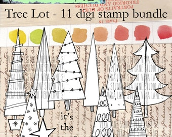 Tree Lot - 11 digi stamp bundle