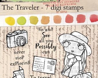 The Traveler - 7 digi stamp set
