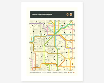 COLORADO MAP, Giclée Fine Art Print, Modern, Minimal, Pop Art by Jazzberry Blue
