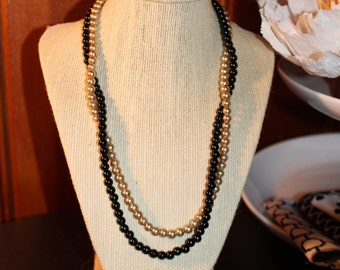 Black and Gold Shiny Glass Pearl Necklace with Lobster Clasp - twisted, two layer