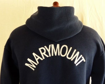 vintage 90's Marymount High School Los Angeles navy blue fleece graphic hoodie sweatshirt back front white embroidered anchor logo medium