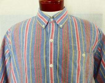 vintage 80's Robinson's red white blue green yellow vertical stripe oxford button up collar shirt short sleeve button down collar Large