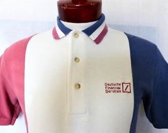 vintage 80s 90's Outer Banks Deutsche Financial Services pastel pink blue white vertical stripe colorblock panel pique knit polo shirt small
