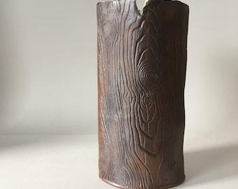 Large Brown Faux Bois Ceramic Vase / Wood Grain Rustic Handmade Vase