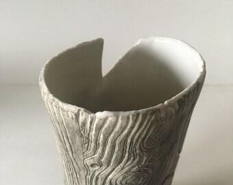 White Flower Vase, Handmade Rustic Pottery