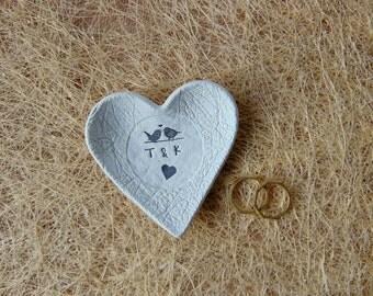 12 Wedding Favors, Personalized Wedding Heart Dish Favors, Clay Wedding Favors, Ring Bearer Dish